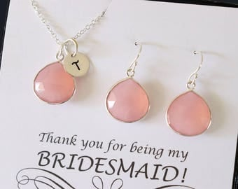 3 Initial Bridesmaid Necklace and Earring set Pink, Bridesmaid Gift, Blush Pink Gemstone, Sterling Silver, Initial Jewelry, Personalized