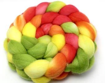 Handpainted Roving - Mango - Falkland Wool, 4 Ounces.