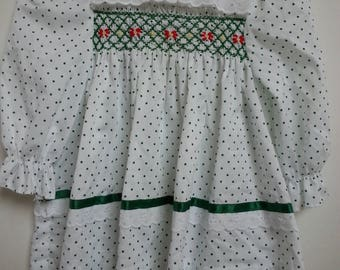 Vintage Polly Flinders white dress with green polka dots, green smocking, red flowers, size 18 months