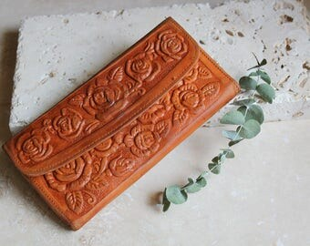 Tall leather wallet , tooled leather wallet , roper wallet , leather checkbook wallet , handmade leather wallet , flower wallet, floral