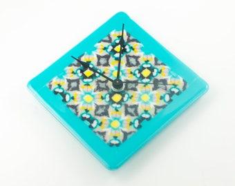 Unique Wall Clock, Multi Color Fused Glass, Square or Diamond Shape, Handmade Glassware, Kaleidoscope Design, 3rd Anniversary Gift