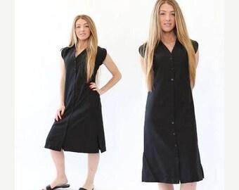 SALE Vtg 80s black cotton minimalist dress