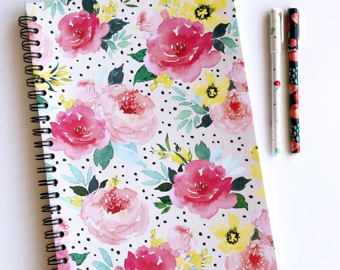 Featured listing image: Watercolour Floral Pattern A4 Notebook