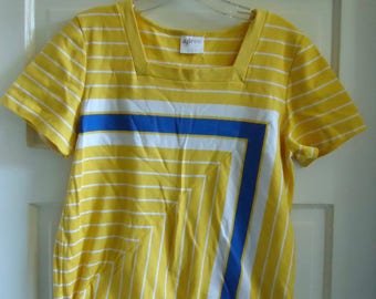 Vintage 80s AILEEN Bright Cinched Striped Top sz S/M