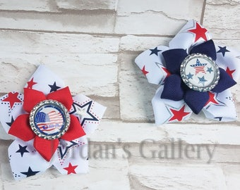 USA/4TH Of July/ Independence Day/ Patriotic Stars Bow/ Hair Clip