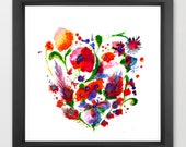 floral watercolor art pri...