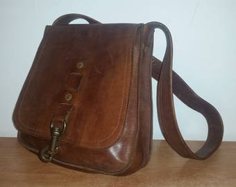 Vintage Rustic Brown Leather Shell Ammo Neck/Crossbody Hunting Field Outdoorsman Pouch Bag