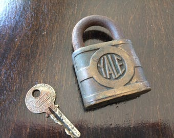 Vintage YALE Y&T lock with original key, antique locks, vintage locks, locks keys, padlocks, lock and key, collectible locks, old lock, key