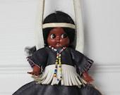 50s Native American doll purse. Carlson Dolls purse. Native American collectible. Wristlet doll purse. Beaded Thunderbird. Fringed dress.