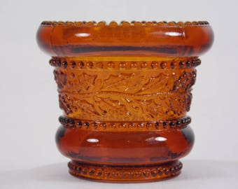 Reserved Sue - 1960's Joe St Clair Deep Amber Glass Beaded Holly Band Toothpick Holder, aka Holly Leaf and Berries, Dark Brown Glass - U
