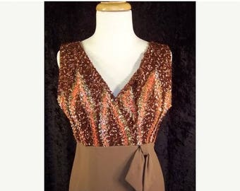 60% OFF Clearance Sale Vintage 60s Emma Domb Evening Dress Prom Party Dress Sequins M