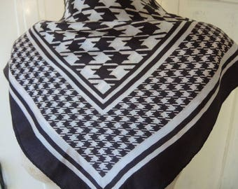 Vintage 1960s acetate scarf black and white houndstooth plaid 23 x 23 inches