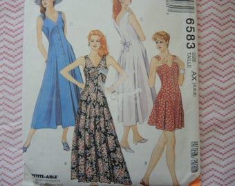 Vintage 1990s sewing pattern McCalls 6583 Misses jumpsuit romper and dress UNCUT size 4-6-8