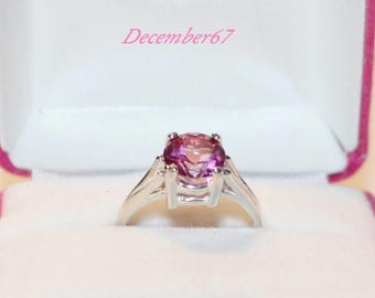 Pure Pink Mystic Topaz Ring, Sterling Silver Ring With Stone, 8mm Round Ring