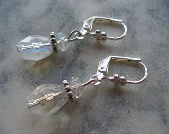 Clear Dangle Earring, Clear Crystal Earrings, Simple but Elegant, Womens Jewelry, Silver Earrings, Wedding Gift, Gift for Her, Birthday Gift