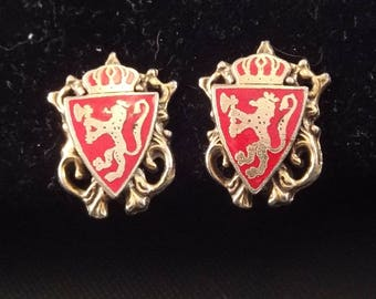 Heraldic Coat of Arms Screw On Earrings, Red and Gold, Unsigned