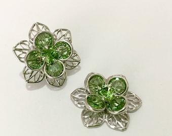 Silver Fused Floral Filigree Earrings Swarovski Crystal August Peridot Green Rhinestone 22.5mm Titanium Post Flower Minimal Stud Ladies Gift