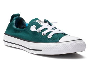Converse Low Top Shoreline Ladies Teal Turquoise Blue Bling w/ Swarovski Crystal Rhinestone Chuck Taylor All Star Trainers Sneakers Shoes