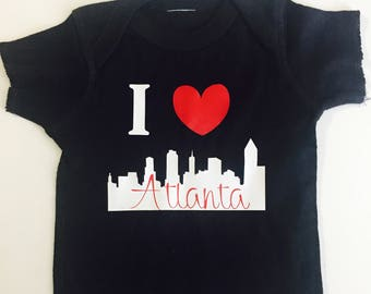 Atlanta Baby Souvenir, Atlanta Infant Tshirt, I love Atlanta infant shirt, black baby T-shirt