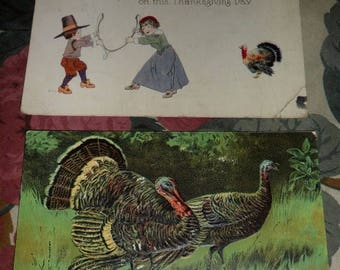 ON SALE 2 Antique Victorian Embossed Happy Thanksgiving Greetings Wishes Postcards with Pilgrims Wishbone Turkeys 1907 1917