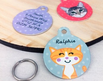 Cat Tag - Personalised Cat ID Tag - Identity Tag for Cat - Cat Name Tag- Cat Collar