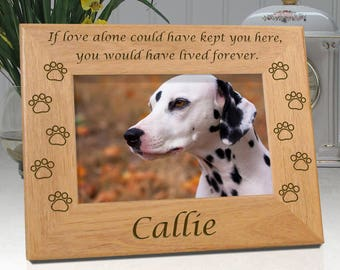 Dog Memorial Frame - If Love Alone - Personalized With Name and Dog Paws - Free Sympathy Card, Box & Bow - Fast Delivery