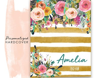 2018 Planner Personalized Hardcover Agenda Calendar with Watercolor Floral on Butterscotch Stripes