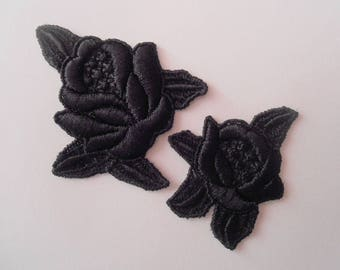 2 black roses lace for your creations