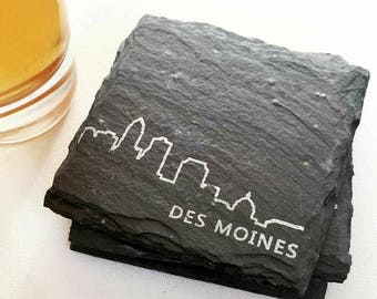 Des Moines, Iowa Skyline Slate Coasters - Midwest, Beer Lover, Mens Gift, Barware, Home Decor