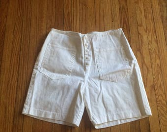 Vintage Unbranded Button Up White 70's Shorts