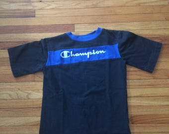 Vintage Champion Spell Out Color Block Short T-Shirt