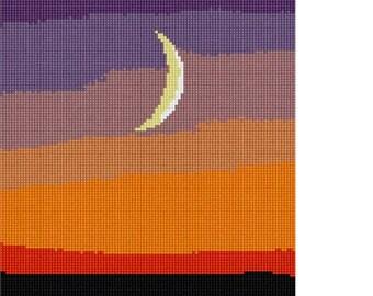 Needlepoint Kit or Canvas: Moon At Sunset