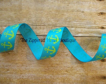 Lime Anchors on Blue 7/8 Inch Grosgrain Ribbon