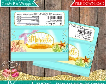Mermaid Happy Birthday 1.55 oz Hershey Bar Candy Chocolate Wrappers Digital Download