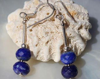 Lapis Lazuli faceted stones mounted on 925 Sterling Silver earrings