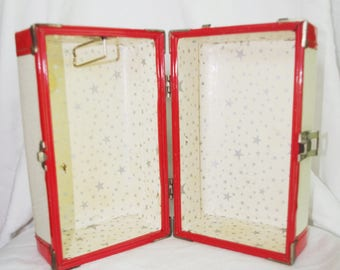 """Vintage 1950s Small Doll Trunk / Case Red White 9.5"""" x 6"""" x 6"""""""