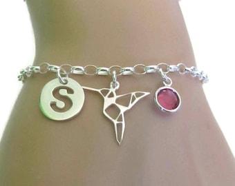 Personalized HummingBird Bracelet, Birthstone Bracelet, Initial Bracelet, Origami Hummingbird, Sterling Silver Bracelet, Jewelry, Gift