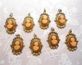 6 Goldplated Cameo Pendants