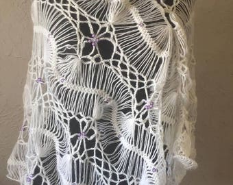 Hand crocheted white poncho with pearl purple -