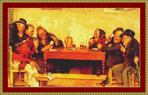 The Card Game Cross Stitch Pattern /Digital PDF Files /Instant downloadable