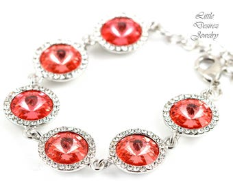 Coral Bracelet Rivoli Swarovski Bracelet Wedding Bracelet Bridal Bracelet Crystal Bracelet Wedding Jewelry Many Colors Available CO34BR