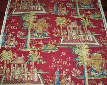 LEE JOFA KRAVET Kipling Persian Linen Toile Fabric 10.5 Yards Burgundy Gold Blue Green Multi