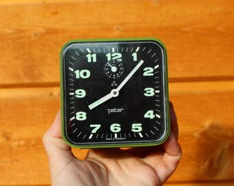 Vintage alarm clock Mechanical alarm clock Peter Made in Germany Wind up alarm clock WORKING CONDITION