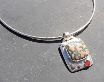 Sterling Silver solid and Orbicular Jasper