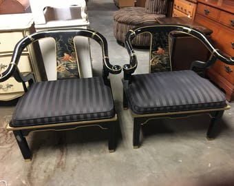 PAIR of Hollywood Regency Century Furniture Ming Asian lacquer chairs