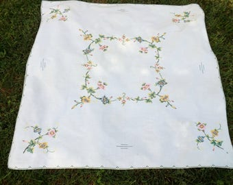Charming vintage table topper/tablecloth with embroidered petunias