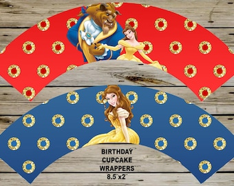 4 Princess BELLE Cupcake Wrappers, Instant Download, Gold Glitter 4 Cupcake Wrappers PRINTABLE, Belle Party Printable, Belle BIRTHDAY
