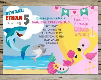 Shark and Flamingo BIRTHDAY Party INVITATION for SIBLINGS, Brother and Sister - Shark Birthday Invite, Flamingo Birthday Invite