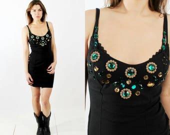 SALE 90s Dress / Black Bodycon / Beaded Dress / Black Mini Dress / Vintage Black Dress / Sleeveless Dress / Italian Dress / Small Dress