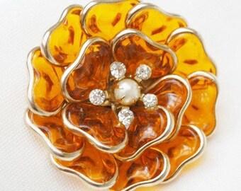Flower Brooch - Amber Orange Lucite - Rhinestone - Pearl - Floral Pin - Mid Century